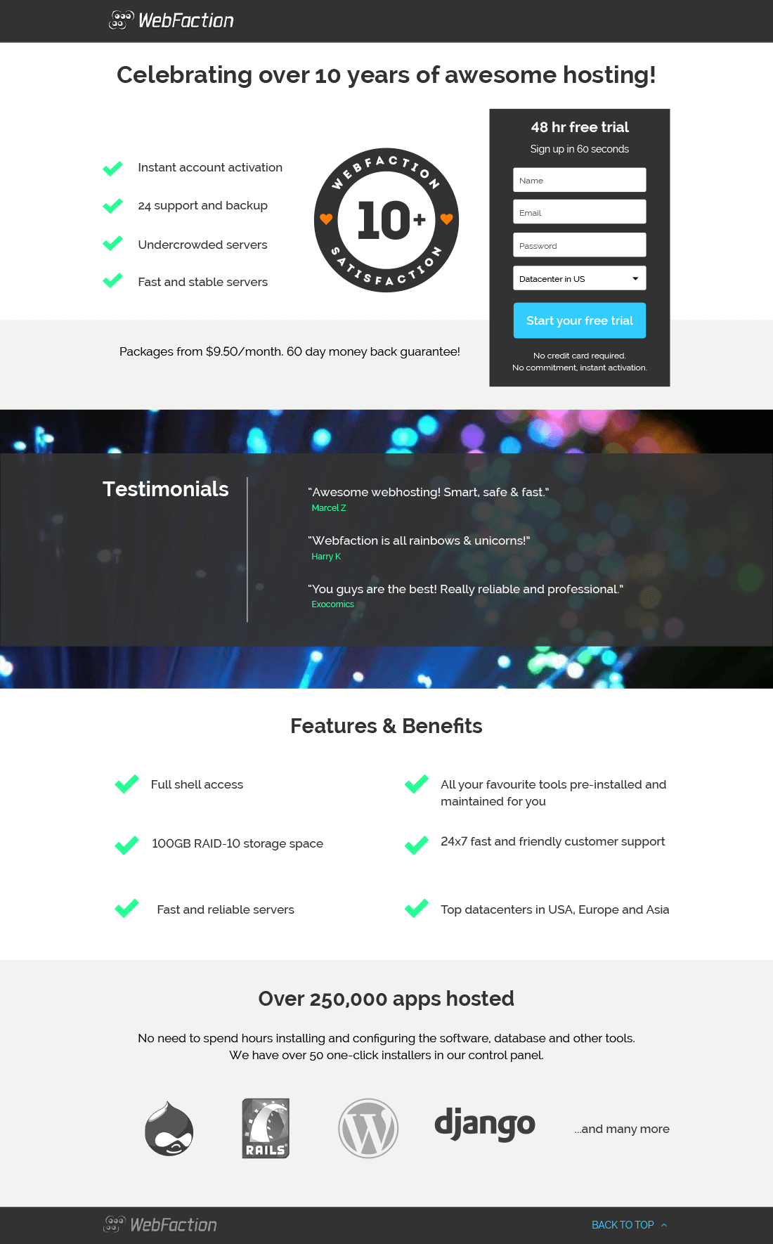 Web Faction Landing Page Design